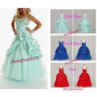 2014 Hot Sell New Stock Lake Blue/Royal Blue/Red Satin Taffeta Tulle Pleat Beading Flower Girl Dress thumbnail image