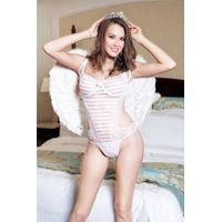 bridal white stripe teddy by eve's night