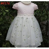 Customized pink children frocks designs princess girl dress for party thumbnail image