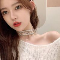 Net red letter neck chain women's clavicle chain fashion cool collar neck short neck belt retro fold thumbnail image