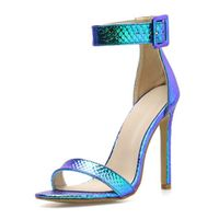 Women's Ankle Strap Stiletto High Heel Snakeprint Dress Sandals for Wedding Party Evening