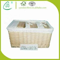 Wholesale Cheap Wicker Storage Baskets Hamper with White Liner