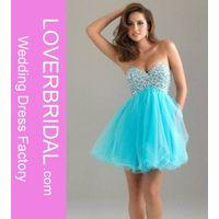 Turquoise Strapless Sweetheart Tulle Beaded Short Prom Dress
