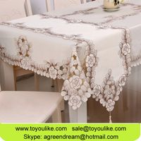 Toyoulike Handmade Cutwork Embroidered Home Textile Table Cloths Beige Wholesale Table Covers