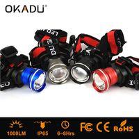 OKADU HT08 Blue Gray Red Black Aluminum 18650 Battery LED Headlight Cree T6 1000Lumen LED Headlamp thumbnail image