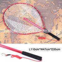 Fly fishing tackle, aluminum folding fishing landing net, rubber handle