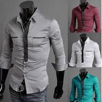 New Style Fashion men's double pocket long-sleeve shirt