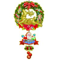 Fashion Design Glitter Paper Santa with Reindeer  Hanging Decoration