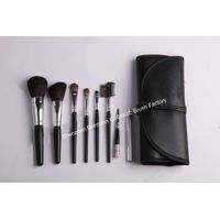 8-piece Travel Cosmetic/Makeup Brush Set, Goat, sable and nylon hair, Wood Handle, Copper Ferrule