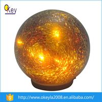 Gold Plating Solar Crackle LED Glass Ball Christmas Light