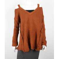 Women Oversized Chunky Knit Off Shoulder Sweater thumbnail image