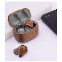 true wireless wooden headset bluetooth 5.0 true woodpods earbuds with charging