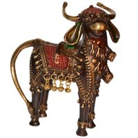 Standing Bull with small bells for Decor and Handcraft made in Brass Metal Animal Figure
