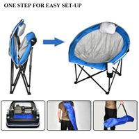 Los Angeles Folding Chairs for Outside with Cup Holder, Carry Bag for Camping Hiking Fishing, Blue thumbnail image