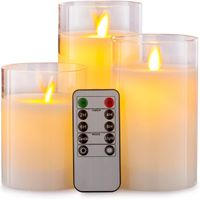 Glass Effect Moving Flameless LED Candles Battery Operated with Remote Control thumbnail image