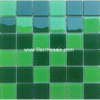 Green Blend Crystal Glass Mosaic For Sauna Pool Tile thumbnail image