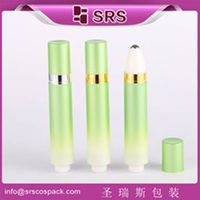Wholesale plastic 1/3oz 10ml airless eye cream roll on bottle with metal ball