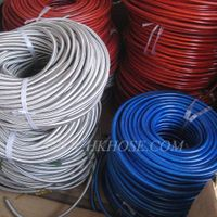 Plastic coated metal knitted hose