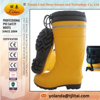 Mining industry oil resistant PVC safety boots with steel toe and reflective strips
