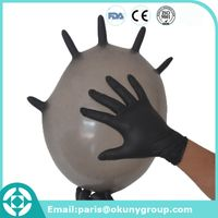 Disposable work safety protection black nitrile glove