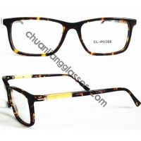 Square Frame Tortoise Color Acetate Optical Glasses Wooden Laminating Metal Rod Hinge Temple Eyewear
