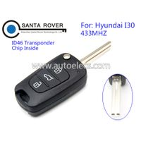 Replacement Keyless Entry Flip Smart Remote Key Fob For Hyundai I30 3 Button 433Mhz thumbnail image