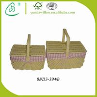 Large Gourmet Wine Empty Picnic Basket Hampers with Handle for Wholesale