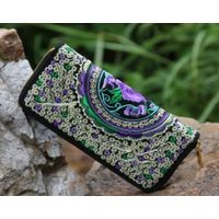 hdy13National handicraft package Theembroidery cloth art long purse Double-sided embroidery hand bag