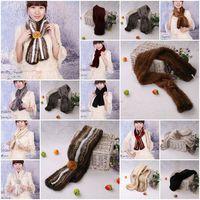 Mink Fur Scarves Mink Fur Scarf Mink Fur Wraps Fur Shawl Mink Knitted Scarf Fur Flower 8 Colors