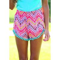 Hot Selling Fashion Women Geometry Print Shorts Beach High Quality Shorts