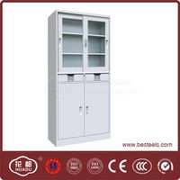 HDY-24 glass and steel sliding doors filing cabinet