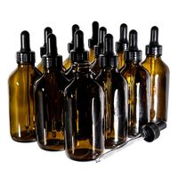 4oz Amber Boston Round Glass Bottle with Black Glass Dropper thumbnail image