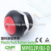 Diameter 12mm plastic pin terminal waterproof LED push button switch -- TUV CE