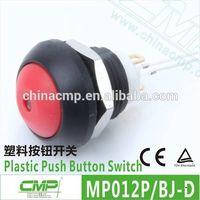 Diameter 12mm plastic pin terminal waterproof LED push button switch -- TUV CE