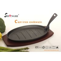 SR018 Cast Iron Fry Pans Pre-seasoned Steak Plate With Wooden Tray thumbnail image