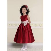 Sleeveless sash fashion taffeta flower girl dress
