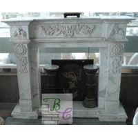 Carving Marble Fireplace for Outdoor Stone Fireplace Mantel