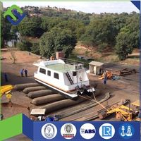 Marine rubber pontoon for ship launching landing