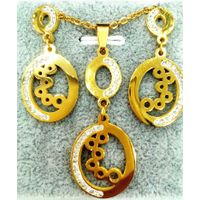 Manufactoring price jewelry new fashion charm hollow round pendant hook earrings necklace set