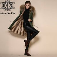 High quality fur overcoat with rex rabbit fur lining