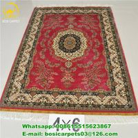 400kpsi handmade rug 4x6ft Oriental Silk Carpet 230lines high quality red color handmade carpet