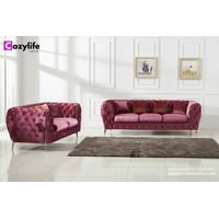 Modern pink velvet fabric chesterfield sofa set thumbnail image