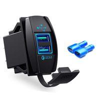 Universal Dual 2 Port USB QC 3.0 Car Fast Charger Power Socket Blue Green Red LED Light 12v 24v for