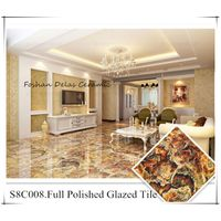S8C008 Bright Red Color Luxury Floor Tile Marble 800x800