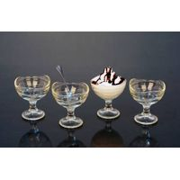 crystal glass ice cream bowl set