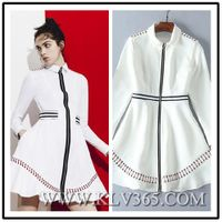 Runway Fashion Designer Women Spring Autumn Long sleeve Style Zipper Front Dress