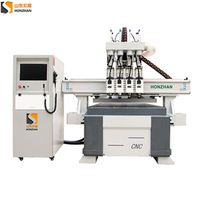 honzhan HZ-R1325F Four heads pneumatic woodworking cnc router cutting machine for wood panel, door, thumbnail image