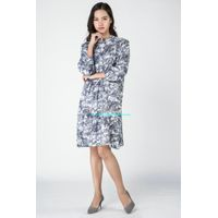 Gaoping Wenqiong G1636 patern printed linen long sleeve women dress