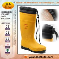 Industrial long warm safety boots with steel toe cap