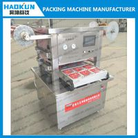 full automatic poultry meat tray sealing vacuum map packing machine with nitrogen gas filling